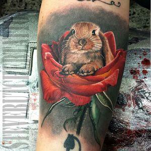 #colour #animaltattoos #colourtattoo #rabbittattoo #rabbit #rose #dreamtattoo #tattoo