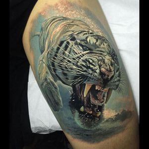 #tigertattoo #tiger #whitetiger #whitetigertattoo #watercolor #colourtattoo #animal #animaltattoos