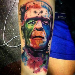 Monstro de Frankestein tatuado no 1 Lages Tattoo Fest #frankenstein #frankensteintattoo
