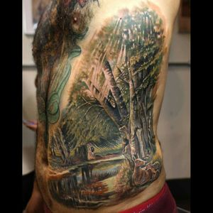 #nature #naturetattoo #mothernature #realistic #dreamtattoo #Tattoodo #tree #foresttattoo #forest #dreamtattoo #color #colorful #tattoo #animal #deer #details #storytelling