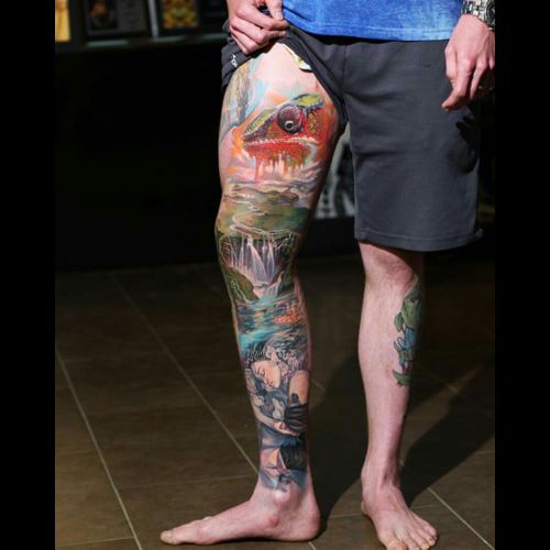 #dreamtattoo #ColorfulTattoos #color #colorbomb #cameleon #animal #water #waterfalltattoo #waterfall #mothernature #nature #everytattootellsastory #ideas #tattoo #brasil #detail #pinning #Tattoodo