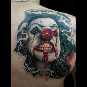 #clown #creepyclown #clowntattoo #clowns #horrorart #horrorart #dreamtattoo #tattoo