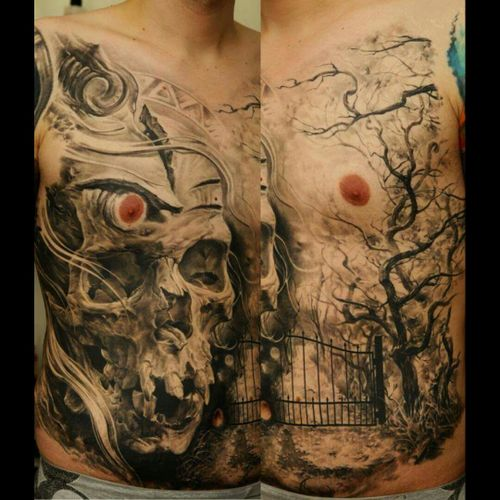 #blackandgrey #blackandgreytattoo #dead #darkink #darktattoo #DarkTattoos #scull #tree #history #storytelling #tattoo