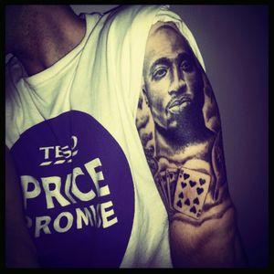 Start off my sleeve, tupac tribute, #tupaclove #tupacshakur #blackandgrey #DeckOfCards  #addicted  #armtattoos #armslee ve
