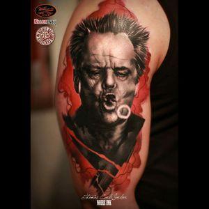 #killerink #JackNicholson #blackandgrey #blackandgreyportrait #blackandgreytattoo #portrait #portraitartist #3dtattoo #getink3d #ink #tattoo