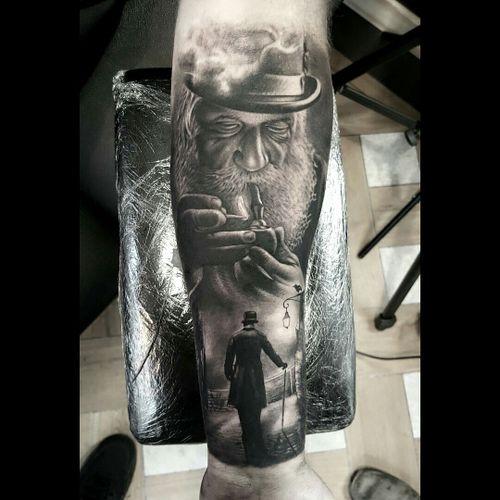 #realistic #tattoohistory #storytelling #smokepipe #pipe #blackandgrey #scenery #silhouette #old #gentleman #dreamtattoo #blackandgrey #blackandgreytattoo #blackwork #darkmark #ink #realism