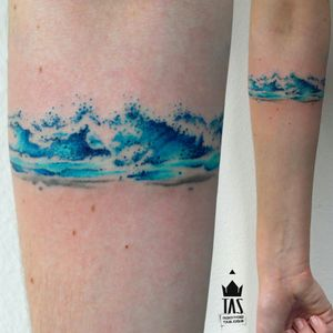 By #RodrigoTas #armband #watercolor  #abstract  #waves #ocean #watercolortattoo  #abstracttattoo
