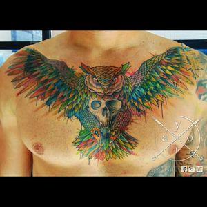 #watercolor #watercolorskull #owl #colorfull #chest #MarcinWasilewski #yaro #yarotattoo
