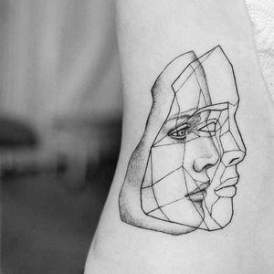 By #UlsMetzger #linework #blackwork #face #geometric