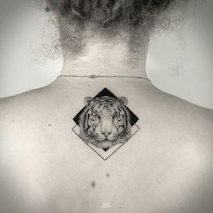 By #MarkOstein  #whitetiger #tiger #dotwork #blackwork