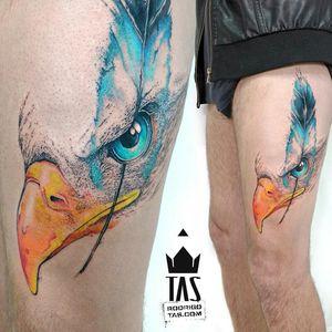 By #RodrigoTas #watercolor #eagle #feather #pontilhismo #eagletattoo #pontilhismo