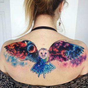 By #AdrianBascur #space #star #owl  #bird #nebula  #backpiece #galaxy
