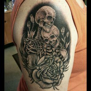Skeletons and a blackwork rose