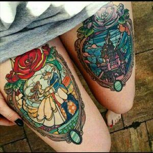 Beauty and the Beast stained glass window pieces #disney #ilovedisney #portrait #beautyandthebeast #stainedglass #stainedglasswindow #roses #taleasoldastime