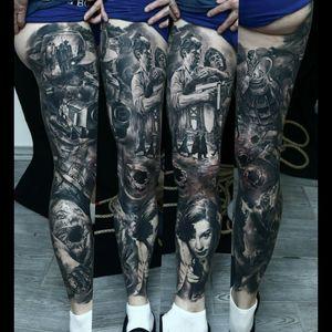 #sleeve #legsleeve #blackandgrey #tattoo #dreamtattoo #ink #war #storytelling #realism