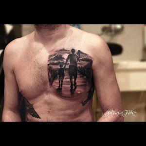#blackandgrey #blackwork #tattoo #inked #art #ink #children #childhood #childhoodmemories #chestpiece #dreamtattoo #Tattoodo #silhouette #everytattootellsastory