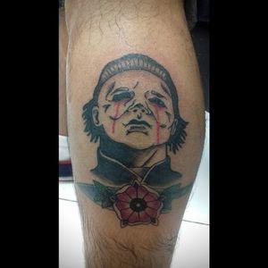 #traditionaltattoo #michaelmyers #halloween #inkedtouchslp #tattoo #lavaneytattoo