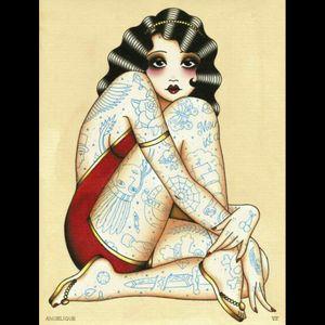 #angeliquehoutkamp #salonserpenttattoo #portrait #traditionalportrait #traditional #tattooedlady