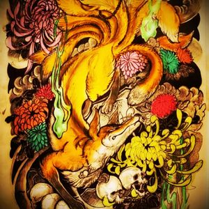 Awesome kitsune tattoo what will be so meanful for me