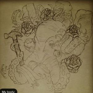 This is my #megandreamtattoo ...this is a quick trace and sketch of what i would love to get, in black and gray nicely shaded. This symbolizes my strongest family members. The octopus and the hammer represent my grandpa, he is a handyman and always there for us. The rose in the front represents my grandma, she loves roses...and the other roses are my mom, my sister and my wife. The stones in the back represent my 3 brothers, they have been my rocks. There are also waves in between it. I have not decided if i want it on my back or my right arm covering my first tattoo. Please pick me 😊, this would mean the word to me if Megan can tattoo this @megan_massacre  @tattoodo #octopus #octopustattoo #roses #stones #sketch #tattoodo #meganmassacre #megandreamtattoo