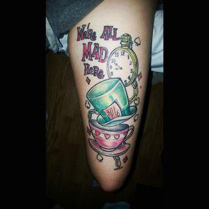 Alice in Wonderland tattoo #wereallmadhere #thightattoo