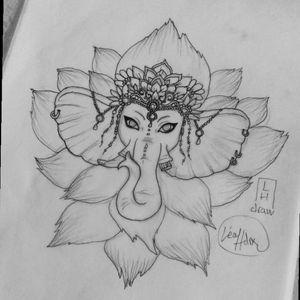 Tattoo idea - Ganesh with lotus Sketch by me ( not available ) #tattoo #tattooidea #ganesh #ganeshtattoo #flower #lotus #flowertattoo #lotustattoo #ganeshandflower #myart #myartwork #mydrawing #sketchbook
