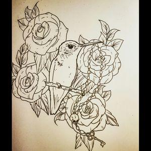 #hummingbird #roses #beads #skull #key #detail #swag #girly #dainty #realism #tat #tatt #tattoo #tattooed #tattooartist #uk #kent #hernebay #instattoo #likemypic #mydrawing
