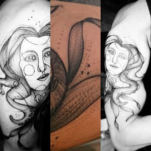 A couple of images of my new tattoo on upper right arm. #linework #dotwork #octopus #tentacles #Alicedugas #purplerose