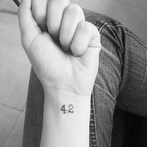 The answer to life, the universe and everything: 42. #Hitchhikersguidetothegalaxy #42 #nerdtattoo