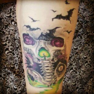 By Bárbara abbys, daytona tattoo (spain) #skull #bats #ouija #bones #absinthe