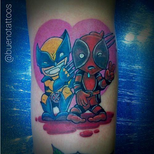 #fineline #blackworker #dotwork #tattooblack #blackandgrey #tattoocolor #wolverine  #Deadpool