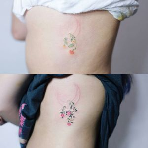 By #soltattoo #flower #camellia #marigold #minimalist #watercolor