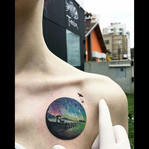 By #evakrbdk #picturetattoo #circle #color #nightsky