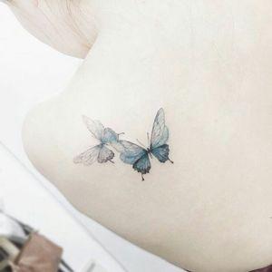 By #tattoist_flower #watercolor #butterfly #pretty #watercolortattoo