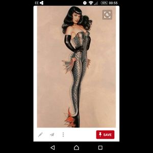 #megandreamtattoo would love some thing like this on my thigh. Mermaids and pin ups what more could I want :)