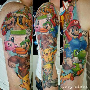 Nintendo sleeve in progress #tatuagem #tatuaje #tatouage #tetoviranje #tätowieren #Dövme #tatuering #tatoeëren #tatu #tattoo #tattoos #ink #inked #pokemon #zelda #mariobros #donkeykong #nintendo #pikachu #mario #luigi #yoshi #bowser #princesspeach #link