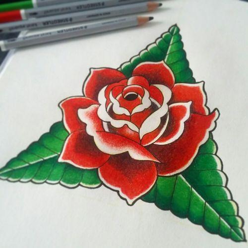 Draw tattoo model #drawing #flower #tattoo #model #color #rose #likeforlikes #liketattoo