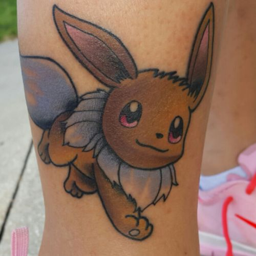 Fun little #eevee i did yesterday. #eevee #eeveelution #eeveetattoo #tattoo #pokemon #pokemontattoo #pokemon4life #pokemontattoos #pokemongo