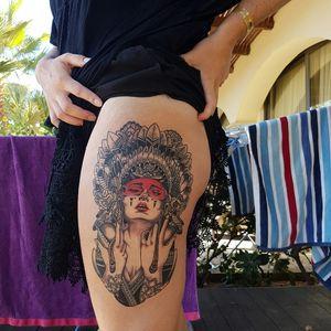 #lovetattoos #stunning #lady #nativewoman #thightattoo #needmoreink
