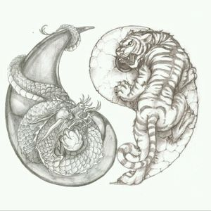 #dragon #tiger #yinandyang The dragon just needs another leg drawn in.. looks like just a serpent, with only the one leg showing, holding the pearl.
