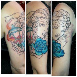 in progress #gypsy #gypsytattoo #rose #rosetattoo #neotraditonal #geometric #sickboys#sickboysink #natecameron