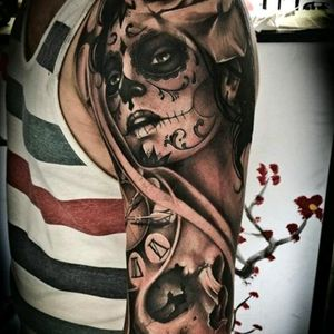 #megandreamtattoo Would like this on my for arm alittle different with facial features of my wife and with a little color