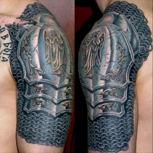 I want to get something similar on my right shoulder and incorporate a Celtic knot and a family crest. I've actually been doing some research on the correct armor from 1300-1500 Scotland. #megaandreamtattoo