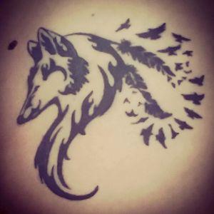 #wolf #crow #owndesign #blacktattoo