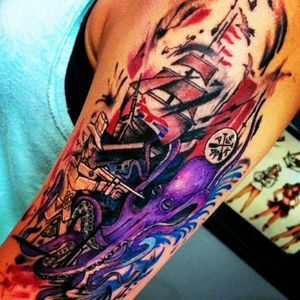 Find the #corgi 💘 #pirateshiptattoo # gangster # octopus #alaska #piratelife