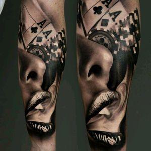 #cards #chips #realistic #realism #lips #smoke #sexy #details #blackwork #black #art #smoke #tattoo #dreamtattoo