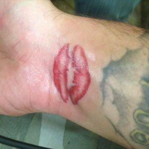 My ex's lips when I first got it done #donttattooherlipsonyou #dumbass