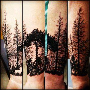 #forest #tattoo #blackwork #wolf