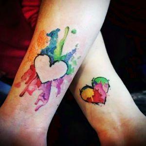 #tattoo #couple #love #heart #tattooheart #tattoocolor #colorful #tattoocolors #heartattoos #hearttattoo #couplestattoo #love_ink #Loverdosetattoo #lovertattoo #lovers
