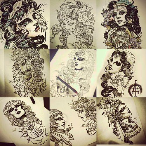 Various designs drawn up ready to be tattooed on you! #tattoo_artist #flashdesign #neotradgallery #ntgallery #tattoo_artwork #liverpooltattoo #fusionink #staffpick #neotraditional #neotatmachines #eikondevice #eikon #L3InkTattoo
